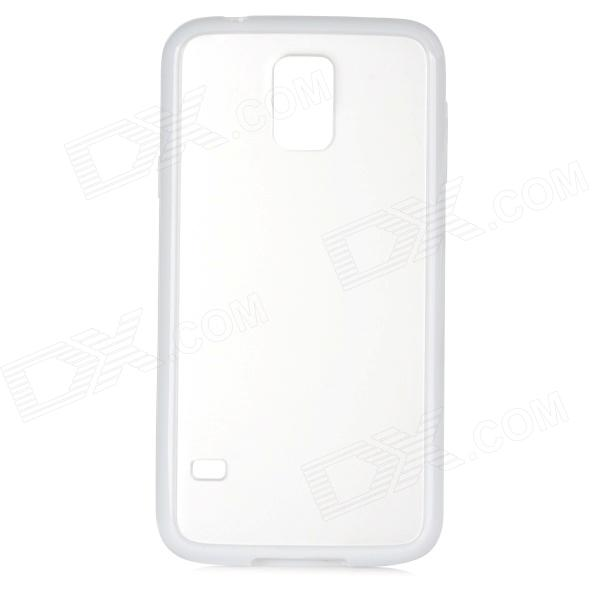 Protective TPU + Plastic Back Case for Samsung Galaxy S5 - White + Translucent protective plastic tpu back case for samsung galaxy s5 transparent white