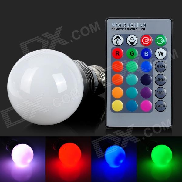 Q2 E27 5W 200lm 1-LED RGB Light Bulb - White + Silver Grey + Multi-Colored (AC 85~265V) jr led e27 10w 500lm led rgb light bulb w remote control white silver ac 85 265v