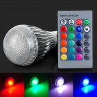 E27 10W 500lm 1-LED RGB Light Bulb w/ Remote Controller - White + Silver Grey (AC 85~265V)