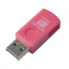 2-in-1 USB 2.0 / Micro USB OTG TF Card Reader for OTG Smartphones and PCs - Deep Pink