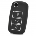 Gel012706  Protective Silicone Car Key Case for VW POLO / Passat / Tiguan + More - White + Black