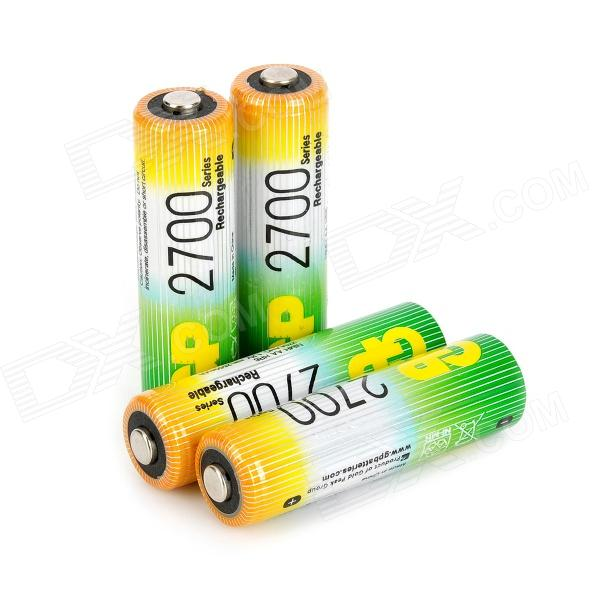 GP 2550mAh Rechargeable Ni-MH AA Battery - Green + Golden (4 PCS) аккумуляторы hr06 aa duracell ni mh 1300 mah 2шт