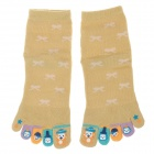 Enbl 5231 100% Cotton Fashionable Women's Toe Socks - Yellow (Pair)