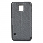 Protective PU Leather + Plastic Flip-Open Case w/ Window / Stand for Samsung Galaxy S5 - Black