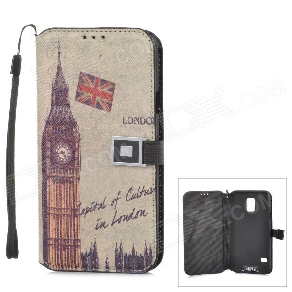 все цены на London Big Ben Pattern Protective PU Leather Flip-Open Case for Samsung Galaxy S5 - Multicolored онлайн