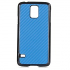 S5-1 Protective Carbon Fiber + Plastic Back Case for Samsung Galaxy S5 - Blue + Black