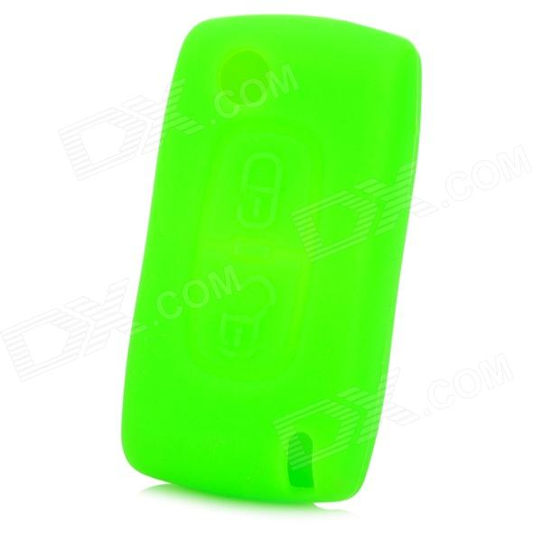 GEL0129 Protective Silicone Car Key Case for VW Peugeot 307 / 308CC / 407 / 408 / 607 - Green