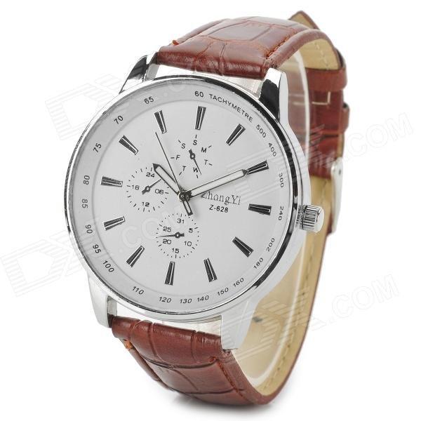 Zhongyi 628 Men's Classic Analog Quartz Wristwatch - White + Coffee (1 x 626)