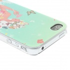 Kinston Girl Attracting Butterflies Pattern Matte PC Hard Case for IPHONE 4 / 4S - Light Green