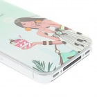 Kinston Long Hair Girl Holding Ice Cream Pattern Matte PC Hard Case for IPHONE 4 / 4S - Green +White