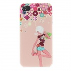 Kinston Fashion Girl Flora Decorated Pattern Matte PC Hard Case for IPHONE 4 / 4S - Green + White