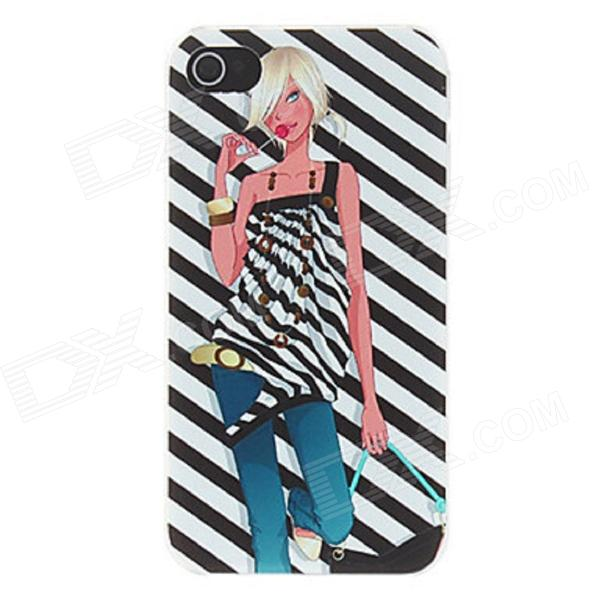 Kinston Hot Girl Zebra Background Pattern Matte PC Hard Case for IPHONE 4 / 4S - Black + White cartoon pattern matte protective abs back case for iphone 4 4s deep pink