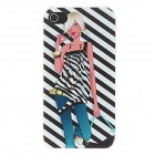Kinston Hot Girl Zebra Background Pattern Matte PC Hard Case for IPHONE 4 / 4S - Black + White