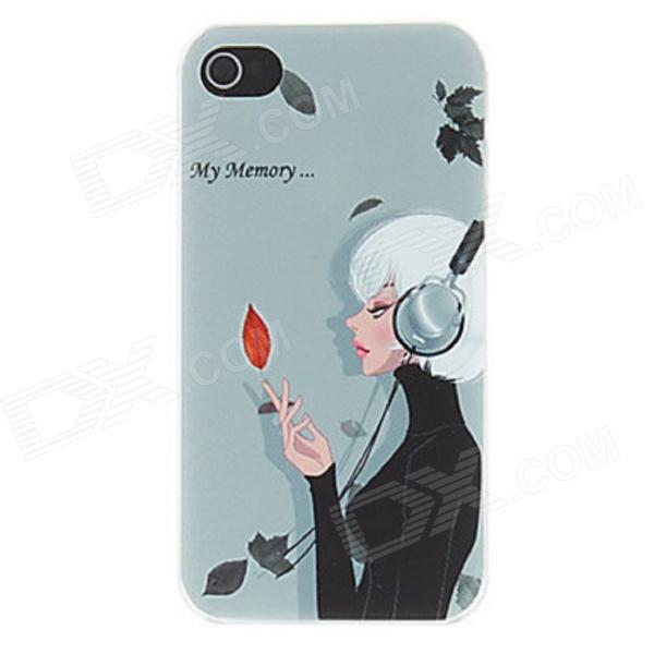 Kinston Reminiscence Lady listening Music Pattern Matte PC Hard Case for IPHONE 4 / 4S - Celadon