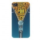 Kinston Zipper Letter Printed Pattern Matte PC Hard Case for IPHONE 4 / 4S - Blue + Yellow