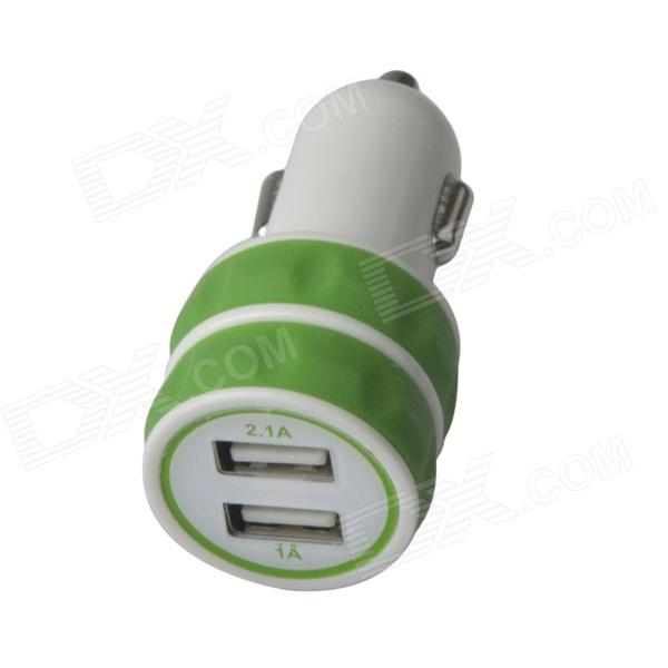 ES-03 Mini Dual USB Car Cigarette Lighter Charger for IPHONE / IPAD / IPOD - Green + White (12~24V) portable car cigarette powered dual usb charger for iphone ipad ipod white 12 24v