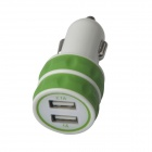 ES-03 Mini Dual USB Car Cigarette Lighter Charger for IPHONE / IPAD / IPOD - Green + White (12~24V)