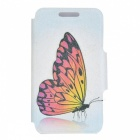 Kinston Butterfly Pattern PU Leather Full Body Case for IPHONE 4 / 4S - Grey + Dark Blue