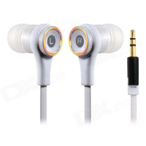Flat Cable In-Ear Earphones for IPHONE, IPOD Touch, IPOD NANO, IPAD / Samsung cellphone - White