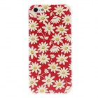 Kinston Chrysanthemum Pattern Transparent Frame PC Hard Back Case for IPHONE 5 / 5S - Red + Beige