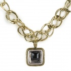 SHIYING X0056 Stylish Rhinestone Pendant Chain Style Necklace - Brass + Black