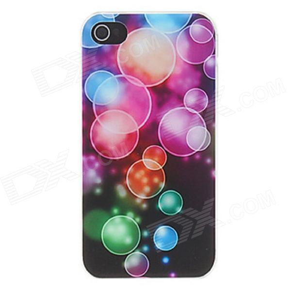Kinston Dazzle Colorful Bubbles Pattern Matte PC Hard Case для IPhone 4 / 4S - черный + розовый