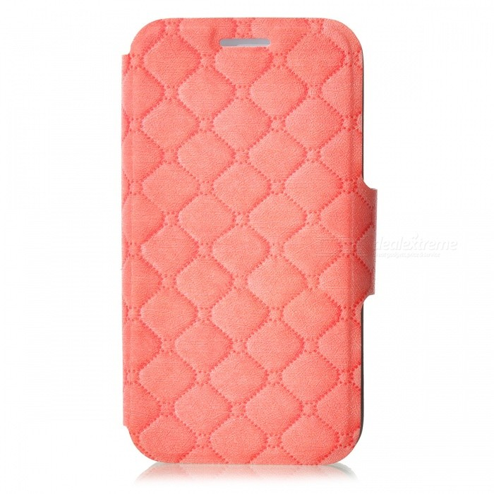 Kinston Grin Pattern PU Leather Case Cover Stand w/ Magnetic Snap for IPHONE 4 / 4S - Tawny