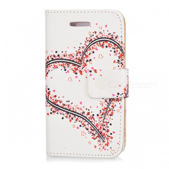 Kinston Beautiful Heart Pattern PU Leather Case Cover Stand w/ Stand for IPHONE 4 / 4S
