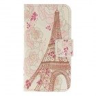 Kinston Flowers + Eiffel Tower Pattern PU Leather Case Cover Stand w/ Card Slot for IPHONE 4 / 4S