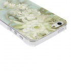 Kinston Green Flower Pattern Transparent Frame PC Hard Case for IPHONE 5 / 5S - Blue + Yellow