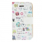 Kinston Happy Life Colorful Painting Pattern PU Leather Case Cover Stand for IPHONE 4 / 4S - White