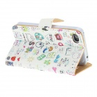 Kinston Happy Life Colorful Painting Pattern PU Leather Case Capa Suporte para iPhone 4 / 4S - Branco