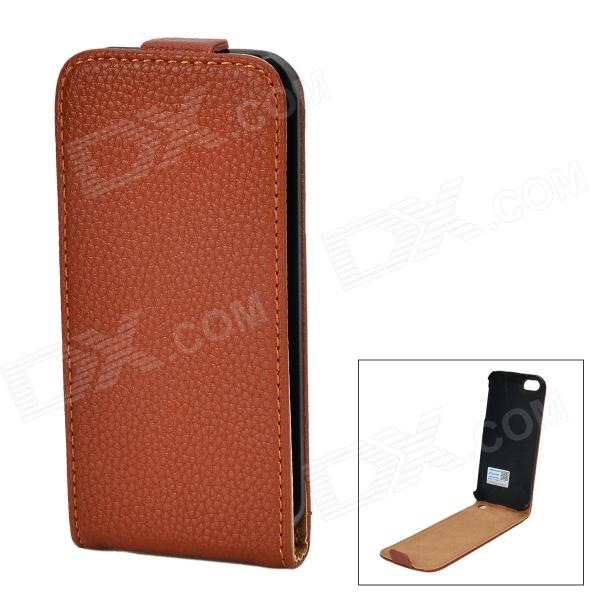 PUDINI WB-I5S Lichee Pattern Protective PU Top Flip Open Case for IPHONE 5 / 5S - Brown pudini wb ip5g rhinestone eiffel tower style pu leather case for iphone 5 brown golden