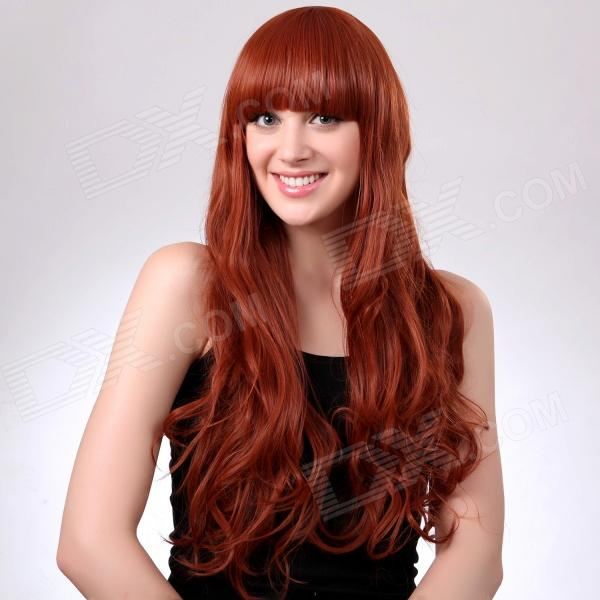 Fashionable Long Wavy Orange Hair Wig Full Bang - Orange Yellow 65cm cosplay wig lady long wavy hair full wigs party 3 colors