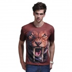 XINGLONG 3D Printing Animal Long Tooth Tiger Motifs Men's T-shirt - Coffee + Multicolor (L)