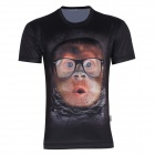 XINGLONG 3D Printing Animal Orangutans Motifs Men's T-shirt -Black + Multicolor (Size XL)