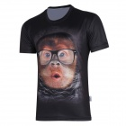 XINGLONG 3D Printing Animal Orangutans Motifs Men's T-shirt - Black + Multicolor (Size L)
