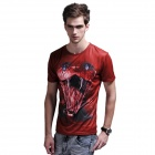 XINGLONG 3D Printing Animal Cobra Motifs Men's T-shirt - Red brown + Multicolor (Size XL)