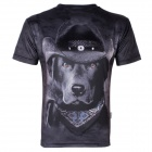 XINGLONG 3D Printing Animal Black Dog Motifs Men's T-shirt - Black + Multicolor (Size L)