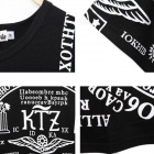 European Style Fashion Men's T-shirt - Black + White (Size XL)