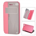 HELLO DEERE Protective PU Case w/ Stand for IPHONE 4G / 4S - Deep Pink