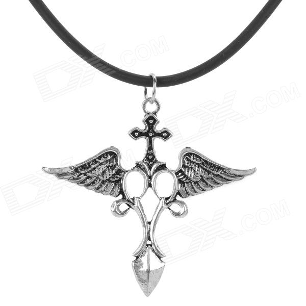 Western Style Raphael Angel Style Pendant Necklace - Black + Silver + Multi-Colored