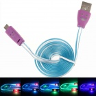 Smiling Face Micro USB Male to USB 2.0 Male Data Sync / Charging Cable - Blue + Purple (95cm)