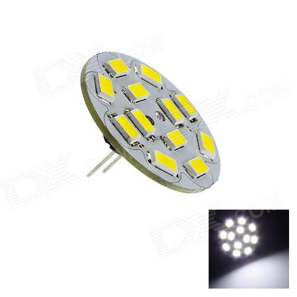 G4 6W 230lm 6500K 12 x SMD 5730 LED White Light Vertical Pin Spot Bulb - (DC 12V)