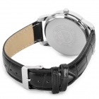 Zhongyi 808 PU Leather Wristband Quartz Analog Wrist Watch for Men - Black + White (1 x 626)