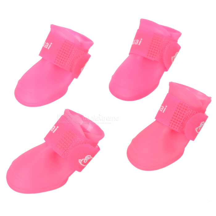 Anti-skid Pet Dog Rainshoes - Deep Pink (Size S / 4 PCS)