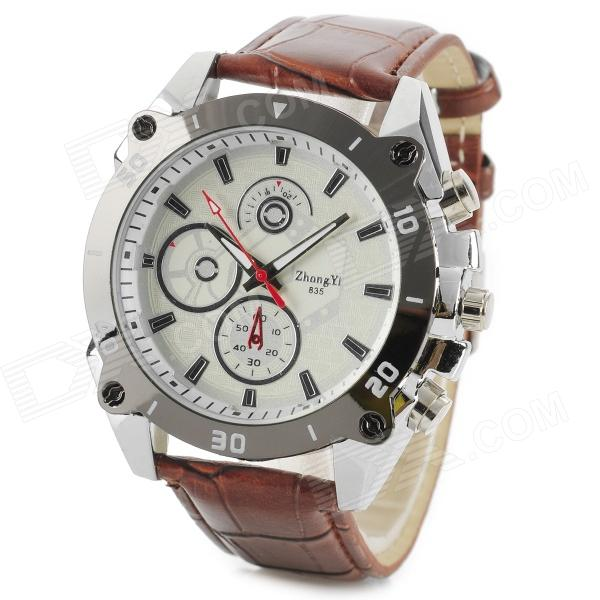 Zhongyi 835 Stylish Quartz Wrist Watch for Men - White + Coffee (1 x 626)