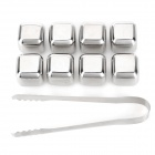 SSI001-8 Convenient Reusable Stainless Steel Ice Cubes - Silver