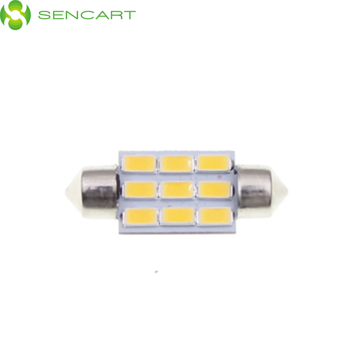 SENCART 2.8W Festoon 36mm 100lm 3500K 9-5730 SMD LED Warm White Light Lamp - Silver + Yellow (9~36V)