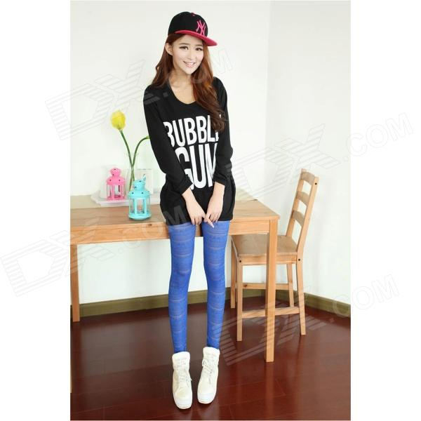 Fashion Gridding Style Dacron Leggings Pants - Blue (Free Size)